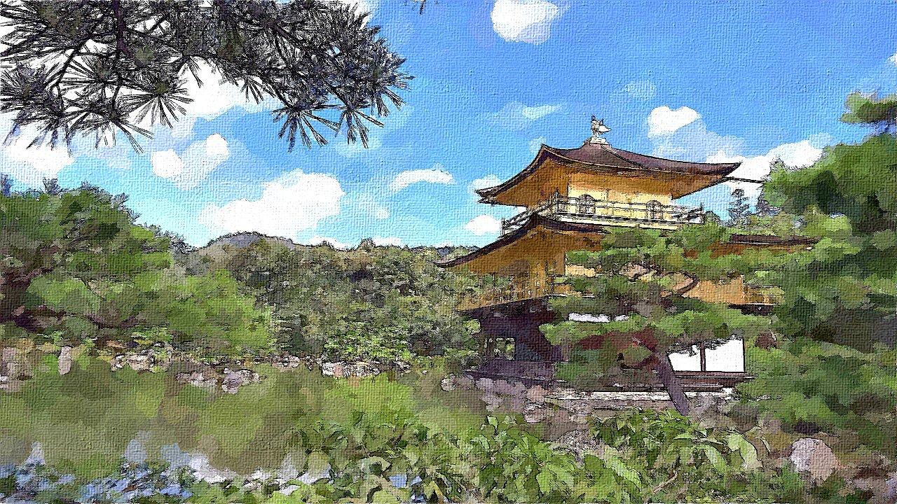 世界文化遺産 金閣寺 水彩画アレンジ
